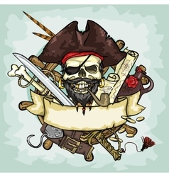 Pirate skull logo design vector
