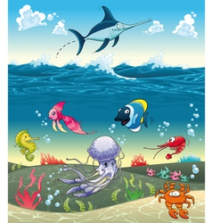 Under the sea with fish and other animals vector image