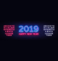 2019 happy new year neon text 2019 new year vector image