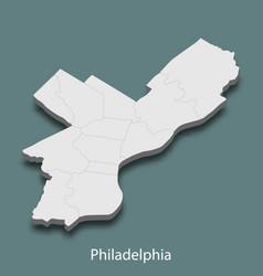 3d isometric map of philadelphia is a city vector