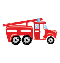 a cartoon fire truck of vector image