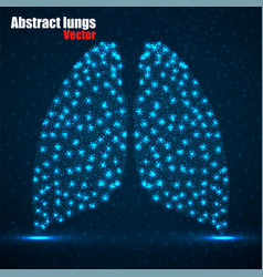 Abstract human lung glowing dots neon vector