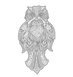 adult coloring book page with decorative owl vector image