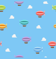 airships flying on blue sky seamless pattern vector image