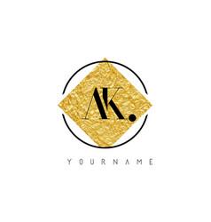 Ak letter logo with golden foil texture vector