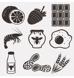 Allergy food icons set vector