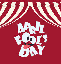 april fools day typographical red background vector image