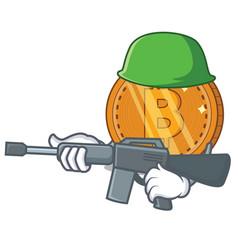 Army bitcoin coin character cartoon vector