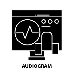 Audiogram icon black sign with editable vector