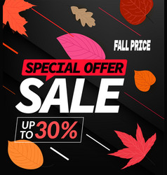Autumn sale special offer up to 30 discount banner vector