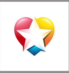 Awesome love star colorful logo design illu vector