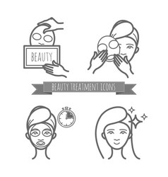 beauty treatment icons facial mask applying vector image