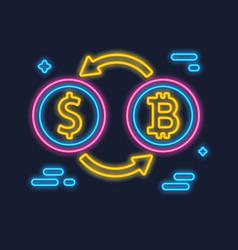 Bitcoin and dollar exchange concept vector