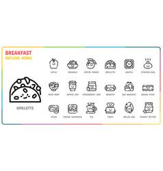 Breakfast outline icon set vector