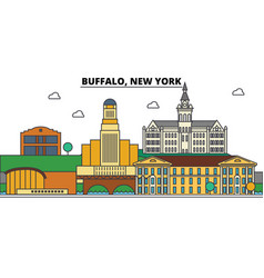 buffalonew york city skyline architecture vector image