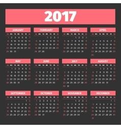 Calendar 2017 template vector