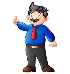 cartoon businessman pointing finger up vector image