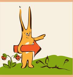 Cartoon cute rabbit on grass with arrow vector