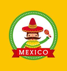 cartoon mexican man holding maraca with a sombrero vector image