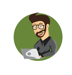 cartoon of young hipster man with laptop vector image