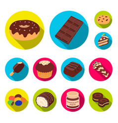 chocolate dessert flat icons in set collection for vector image