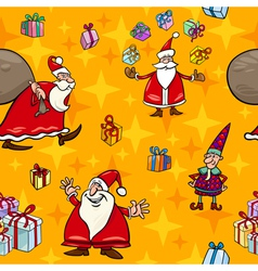 Christmas cartoon seamless pattern wrapper vector