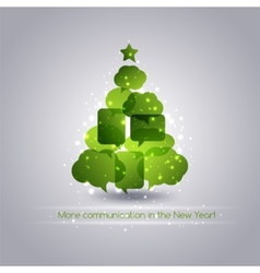 Christmastree with speech bubbles background vector