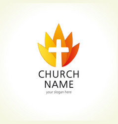 Church cross logo vector