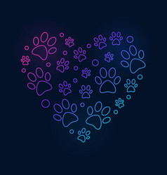 Colored paw prints in heart shape line vector