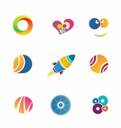 colorful abstract icons set vector image