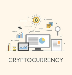 crypto-currency digital marketing business and vector image