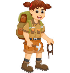cute backpacker cartoon standing with bring rope vector image