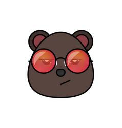 Cute bear in hipster sunglasses animal cartoon vector