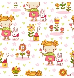 Cute cartoon girl seamless pattern vector