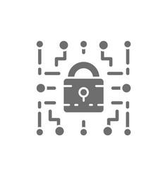 Cyber lock web security cryptography grey icon vector