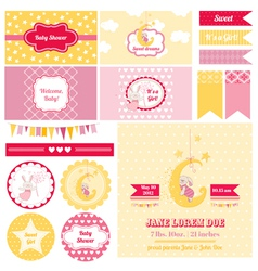 Design Elements - Baby Shower Bunny Theme vector image