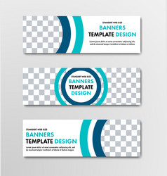 design of horizontal web banners with round and vector image