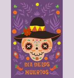dia de los muertos greeting banner for day vector image