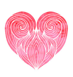 doodle heart with the hair pattern and pink vector image