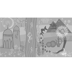 Drawing abstraction in oriental style nature vector