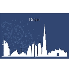 Dubai city skyline on blue background vector