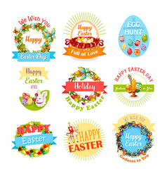 easter egg and rabbit icon set for holiday design vector image