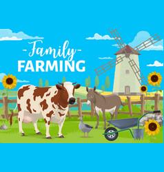 Family farming farm animals on field vector