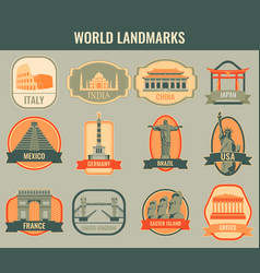 famous monuments and landmarks collection labels vector image