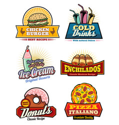 Fast food snacks meas and desserts icons vector