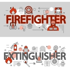 Fire Department Line Banner Set vector image