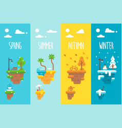 Flat design 4 seasons floating islands vector