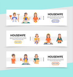 flat housewife life horizontal banners vector image