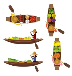 Floating Market Seller Object Set vector image