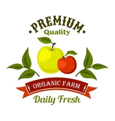 Fresh from the farm apple fruits retro icon design vector image